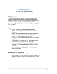 Office Clerk General Job Description - Template & Sample Form ... Office Clerk General Job Description