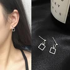 Personality <b>Simple</b> Square <b>Geometric Earrings Korean</b> Accessories ...