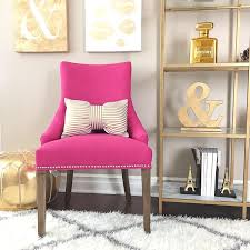 chic home office decor: gold shelves home office decor pink accent chair accent chairs pink accents gold accents bow pillows you may also like to visit like follow amp share