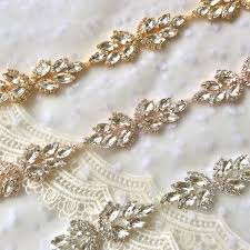 gold headpiece rose gold crystal rhinestone trim by the yard bridal trim silver crystal trim rhinestone applique