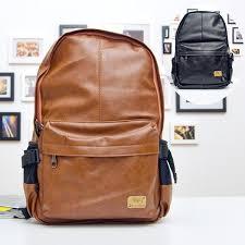 Casual <b>Fashion Men Women PU</b> Leather Backpack School ...