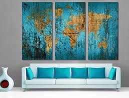 Munsell Blue World Map Canvas <b>Print 3 Panel</b> Split, Triptych ...