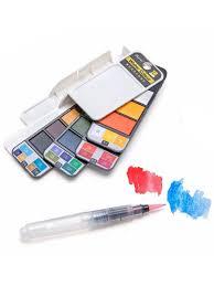 Краски акварельные 18 цветов Веер кисточка с резервуаром для ...