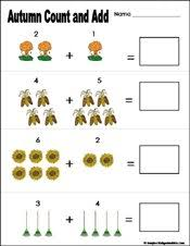 Preschool and Kindergarten Fall Math Worksheetsfall/autumn Preschool and kindergarten math worksheet