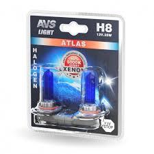 Галогенная <b>лампа AVS ATLAS</b> /5000К/ H8.12V.35W. 2шт.