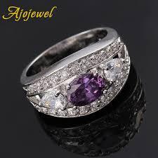 2019 <b>Ajojewel</b> Silver Color <b>Cubic Zirconia</b> Women Ring Purple ...