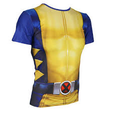 Wolverine Short Sleeve Costume <b>T</b>-<b>Shirt Elastic</b> O-Neck <b>Tights</b> ...