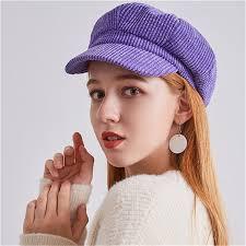 USPOP 2019 hot Corduroy <b>octagonal hats</b> women <b>solid</b> color berets ...
