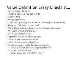 value definition essay checklist correct proper heading length is  value definition essay checklist correct proper heading length is between   words creative