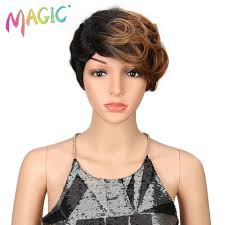 <b>magic Hair</b> Short Synthetic Wigs Women <b>Heat Resistant Hair</b> 8 Inch ...