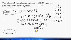 Find The Height Of A Cylinder When Given The Volume And Radius ...