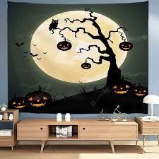 <b>Halloween</b> Swaying <b>Pumpkin Tree Pattern</b> Background Digital Print ...
