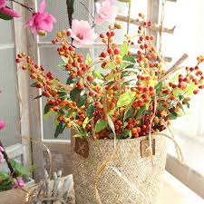 <b>1PC Christmas Berry</b> Artificial Flower Red Cherry Branch for ...