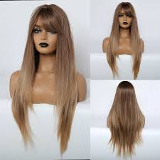 JONRENAU Synthetic <b>Long Straight</b> Wig Brown Mix Blonde Wigs ...