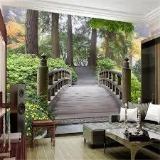 <b>beibehang Custom wallpaper</b> large mural garden park wooden ...