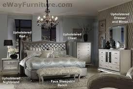 aico hollywood swank metallic graphite leather queen bed bedroom furniture ebay bedroom furniture mirrored bedroom