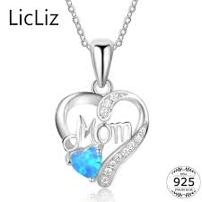 <b>LicLiz 925 Sterling Silver</b> Heart Pendant Necklace Women Blue ...