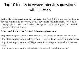 top  food  amp  beverage interview questions   answerstop  food  amp  beverage interview questions   answers in this file