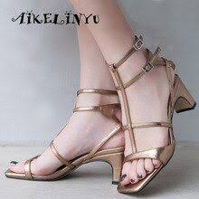 <b>AIKELINYU</b> Golden <b>Women's</b> Sandals Comfortable High Quality ...