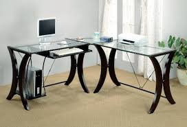 get quotations coaster l shape home office computer desk cappuccino finish base glass top besi office computer desk