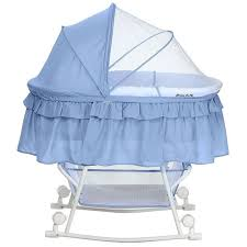 Serenity Blue <b>Portable 2-in</b>-1 Bassinet and Cradle - Lacy | Bassinet ...