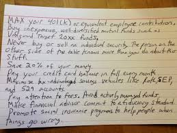 can the best financial tips fit on an index card news