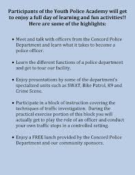 concord police department home click here for youth police academy application