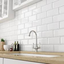 kitchen wall tiles design victoria beveled edge metro gloss white wall tiles  x cm pack of