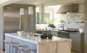 calacatta marble kitchen waterfall: calcutta marble island aed calcutta marble island