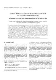 (PDF) Synthesis of <b>titanium</b> carbide by thermo-chemical methods ...