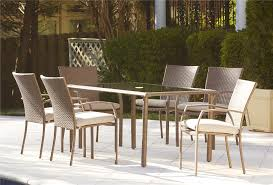 cosco outdoor 7 piece lakewood ranch steel woven wicker patio dining set with cushions brown brown set patio source outdoor