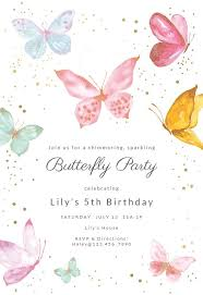 <b>Magical butterflies</b> - Birthday Invitation Template (free | Butterfly <b>baby</b> ...