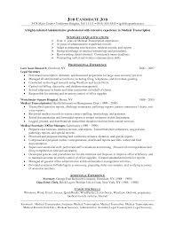 medical transcription resume format resume format  medical transcription resume format