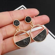 2018 New <b>Fashion</b> Stud Earrings Black <b>White Stone</b> Geometric ...
