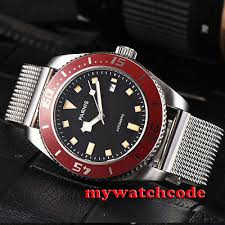 <b>43mm PARNIS black dial</b> red bezel sapphire glass automatic mens ...