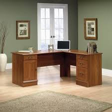 l shaped computer desk home office furniture cherry finished