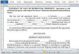 Residential Property Sale Contract Form for Word