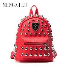 MENGXILU New Fashion Women <b>MINI</b> PU Leather <b>Backpack Rivet</b> ...