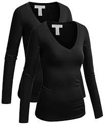 Emmalise <b>Women's</b> Junior and Plus Size Vneck <b>Tshirt Long Sleeves</b> ...