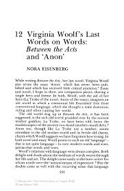 virginia woolf s last words on words between the acts and anon new feminist essays on virginia woolf new feminist essays on virginia woolf