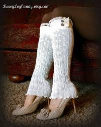 Lace and Button Leg Warmers / Boot <b>Socks</b> In Off White. Perfect with ...