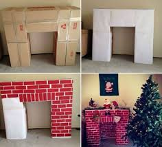 cheap christmas decor: build a cardboard fireplace to hang your christmas stockings