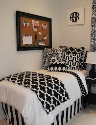 black and white chic and sophisticated dorm room bedding add a pop of lime blue chic design dorm room ideas