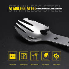 Outdoor <b>Multifunctional Stainless Steel</b> Camping <b>Cutlery Fork Spoon</b> ...