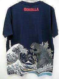 Folcart 508572 <b>Printing</b> T-shirt Ukiyoe MT Fuji <b>Godzilla</b> Navy Size XXL