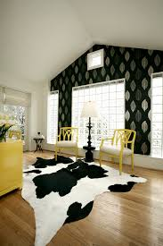 cowhide rug home office contemporary with accent wall bold accents bold colors clerestory animal hide rugs home office traditional