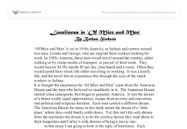 loneliness in of mice and men essayof mice and men   loneliness   gcse english   marked by teachers com document