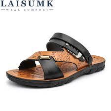 <b>LAISUMK Men'S</b> Fisherman <b>Sandals</b> Sliders Slides <b>Summer</b> Cow ...