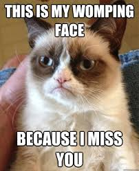 this is my womping face because i miss you - Grumpy Cat - quickmeme via Relatably.com