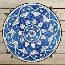 Shira Blue And White <b>Mosaic Accent Table Black</b> | Mosaic table ...